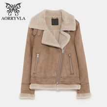 AORRYVLA New Woman Leather Jacket Winter 2018 Fashion Sheepskin Suede Jacket Short Zippers Lambs Wool Motorcycle Coats Hot Sale
