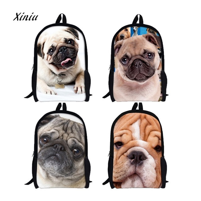 2018 New Design Creative 3D Animal Print Shar Pei Dog Backpack Rucksack  School College Shoulder Bags