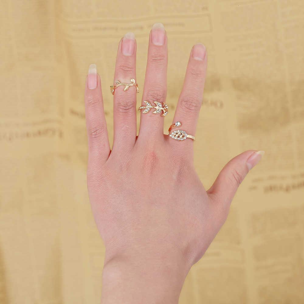 Anillo de oro plateado Diamante de imitación de hoja de cristal nudillo Midi anillos de dedo anillos mujer anillo conjunto Bague anillos de oro para las mujeres