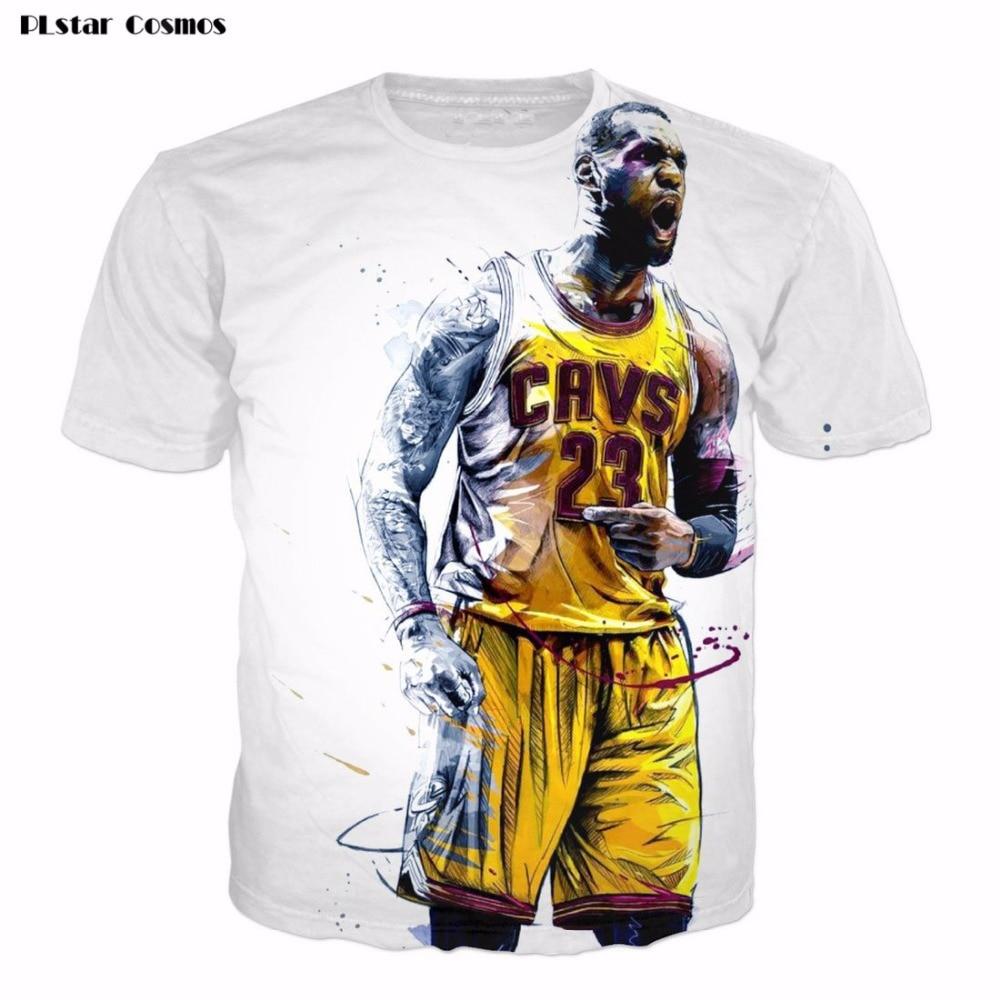 PLstar Cosmos Summer 3D Print basket ball painting tshirt Men/Women casual T-shirt Star character James Hip Hop Tops 5XL