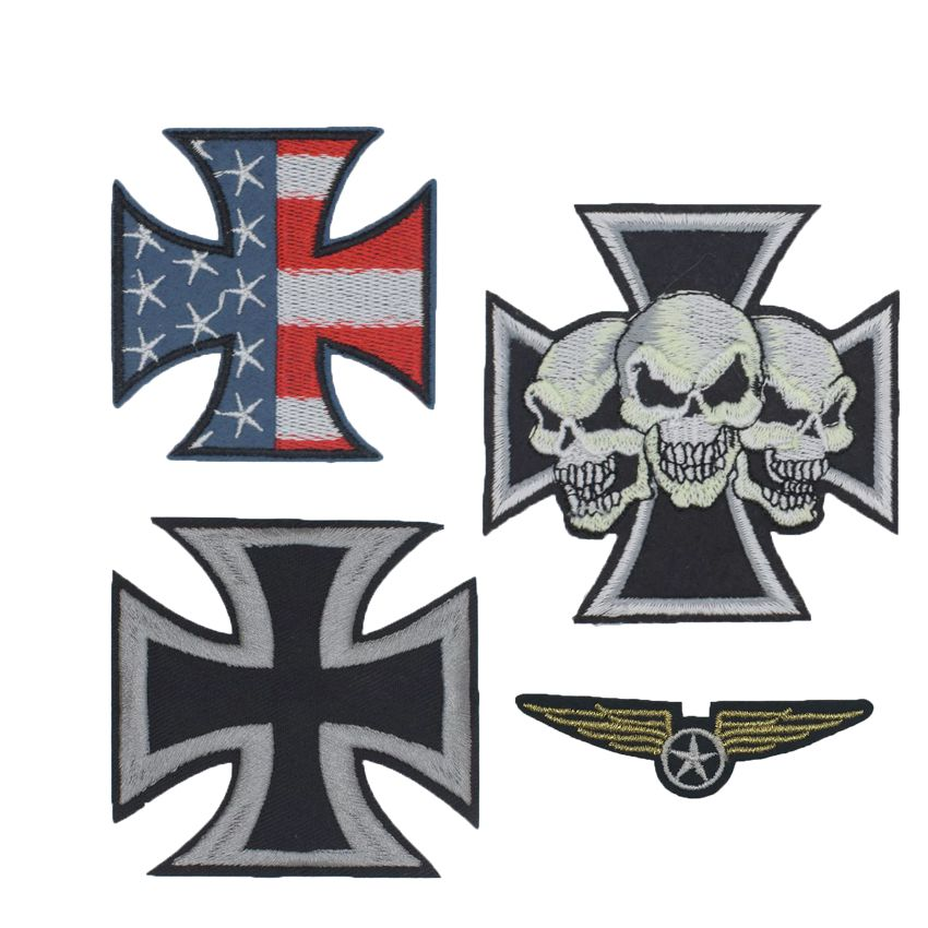 Fantastic Maltese War Cross Devil Triple Skulls Christian Embroidered Patch Iron On Sew On Patch For Biker Clothing Jacket