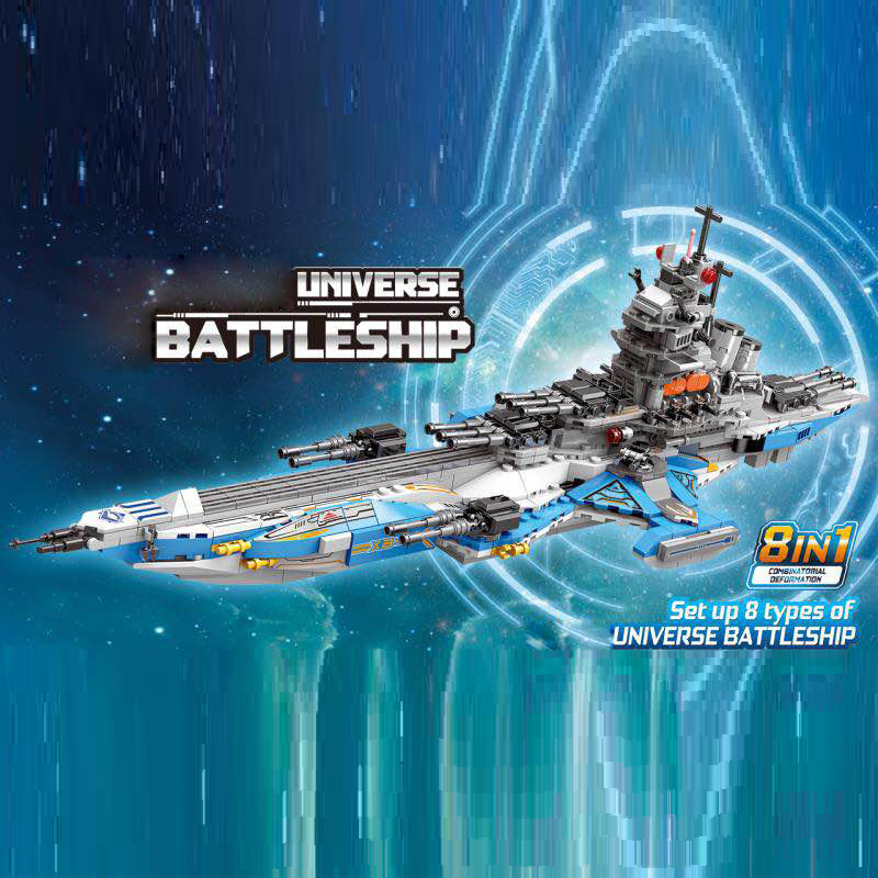 Space war 8in1 Super cosmological warship moc building block Radar vehicle fighter Submarine Armored car hovercraft