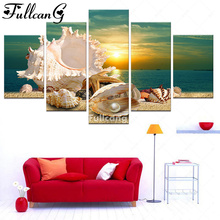 FULLCANG 5d diamond mosaic beach sea seashells pearls diy painting 5 pcs full square embroidery pattern set F215