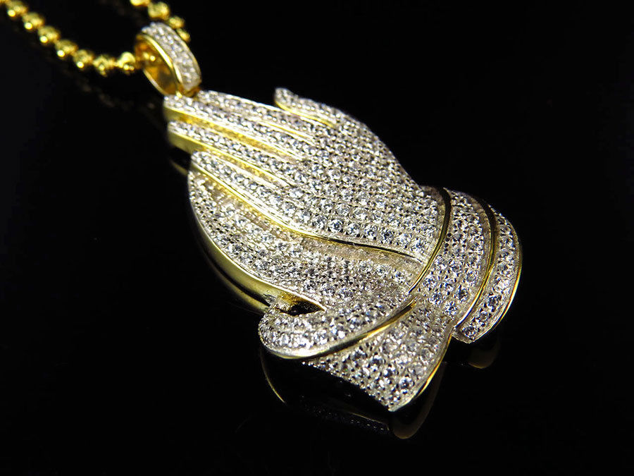 2016 Factory Custom Jewelry Bling Bling Real Micro Paved Simulated Cz Gold Silver Applaud Hand Men Pendant Necklace
