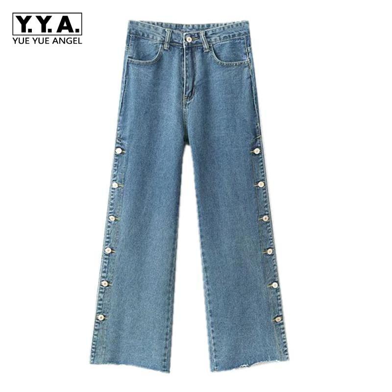 Automne Nouveaux Jeans Taille Haute Femmes Loose Fit pantalon large en bas Bouton Unique Poitrine Denim Femelle Pantalon Lavé Cloche Jeans bas