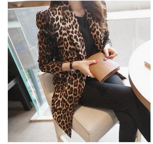 Hot Sale Spring 2016 Women Fashion Blazer Slim Full Leopard Print Suit Jacket Female One Button Outerwear Plus Size S-3Xl J863 jeans con blazer mujer