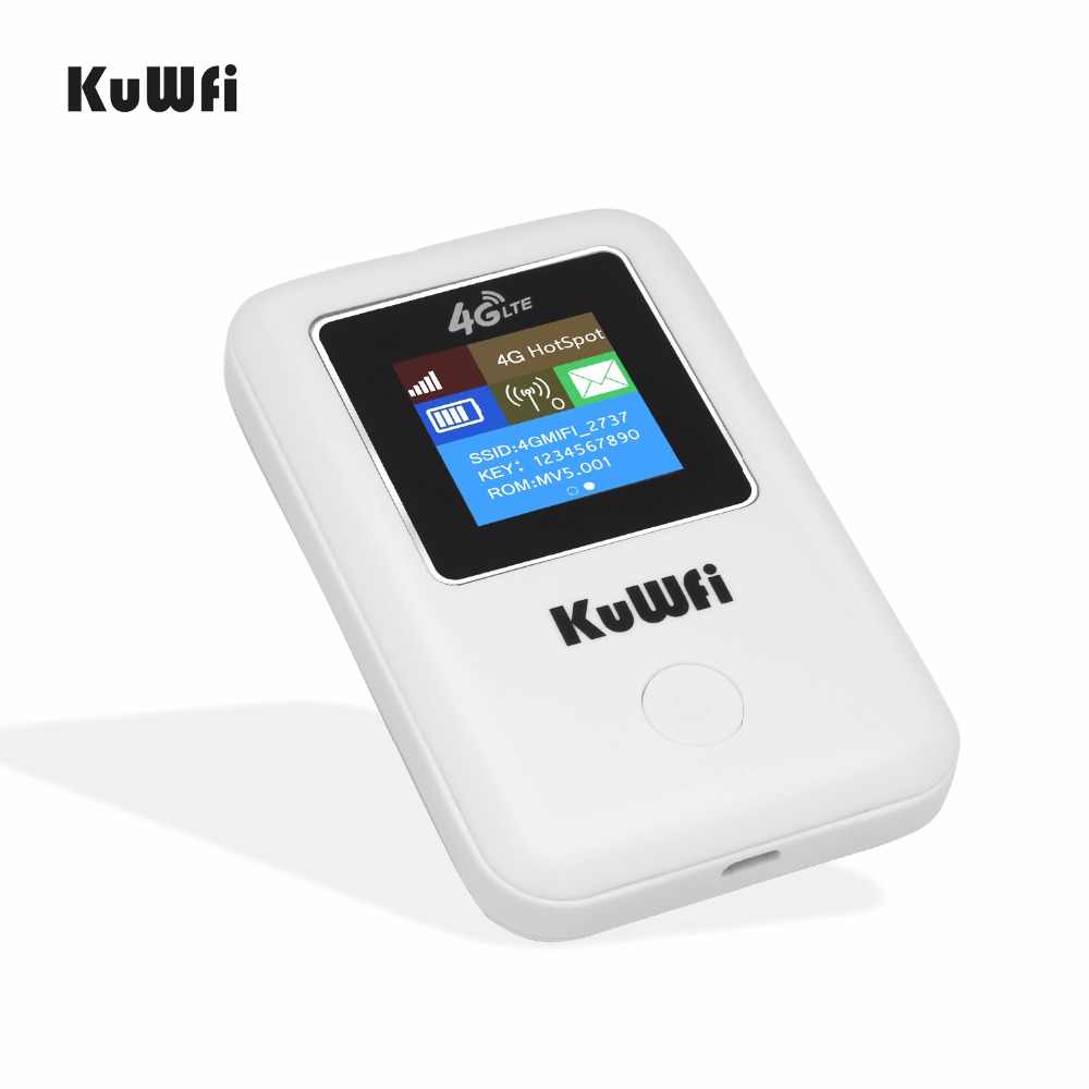 KuWFi موزع إنترنت واي فاي لاسلكي مقفلة 4G LTE راوتر المحمولة جيب واي فاي هوت سبوت 4G مودم سيارة واي فاي جهاز توجيه ببطاقة SIM فتحة