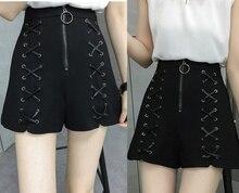 Summer New Harajuku Solid Black Bandage Shorts High Waist Criss Cross Casual Wide Leg Shorts Plus Size L-4XL Split Hotpants