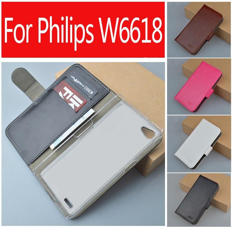 Flip retro case pu de cuero para philips xenium w6610 w6618 cubierta del estilo