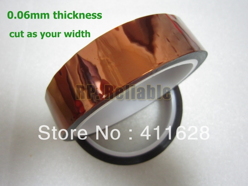 Free Shipping, 1x 23mm*33M *0.06mm High Temperature Resist Polyimide Film Tape, Brown Color, *Cut As Request Width*