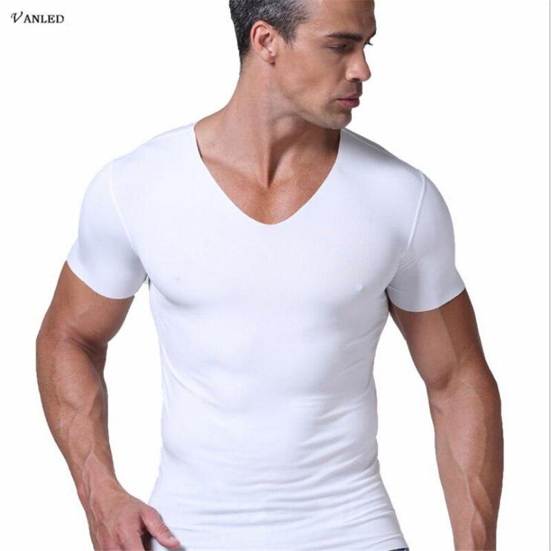 2017 New Brand Summer Men's T-shirt Sexy Tshirt Deep V neck T shirts Seamless No Seaming Tee Thin And light Standard Man T-shirt