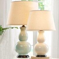 Europe Rural Style White Light Blue Ceramic Bed Side Table Lamp Gourd Shape Creative Fabric Desk