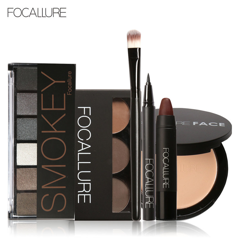 FOCALLURE 6Pcs Pro Face Makeup Set Eyebrow Powder Palette Eyeliner Eyeshadow Palette Sexy Matte Lip Sticker with 1Pcs Brush focallure 3pcs pro face makeup daily using foundation cream loose powder with high quality makeup brush