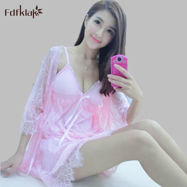 Fdfklak Hot Sale Spring Summer Elegant Sexy Lace Robe Set Lady White Lace Embroidery Dressing Gown Long Bathrobes Suit E0813