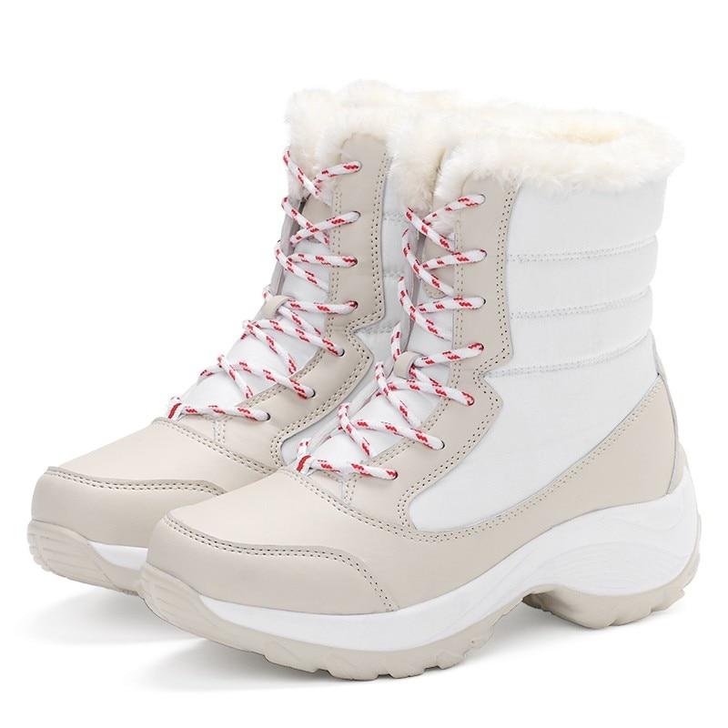 Hiver De Antidérapantes bleu Cheville D'hiver Femmes Épais Neige Chaussures Beige Fourrure Plate forme Imperméables Avec Botas rouge Bottes White noir Mujer q5HH7t