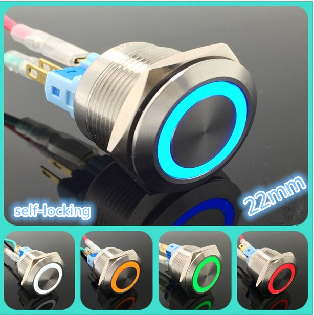 5 Set Stainless Steel Metal LED 22mm Push Button Switch 3v 5v 6v 12v 24v 48v 110v 220v Car Ring Light Switch Self Latching