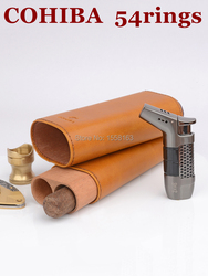 Étui à cigares en cuir de motif de Texture de cheval fou brun Portable de voyage de COHIBA adapté pour 2 doigts jusqu'à 54 anneaux de cigare