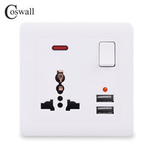 Coswall Wall Power Socket 13A UK Universal 3 Hole Switched Outlet 2.1A Dual USB Charger Port LED indicator()