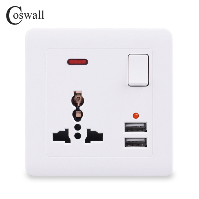 Coswall Wall Power Socket 13A UK Universal 3 Hole Switched Outlet 2.1A Dual USB Charger Port LED indicator