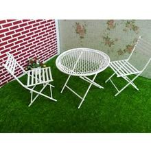 1/12 Масштаб белый круглый стол стулья мебель набор для кукольного домика балкон сад