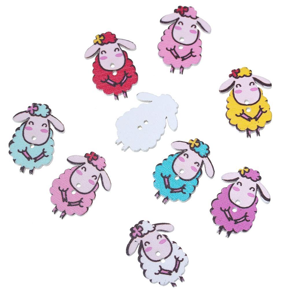"""DoreenBeads עץ תפירת כפתור רעיונות כבשים ציור צורת צבע באופן אקראי 2 חורי 29 מ""""מ (1 1/8 """") x 21 מ""""מ (7/8 """"), 8 יחידות חדש"""