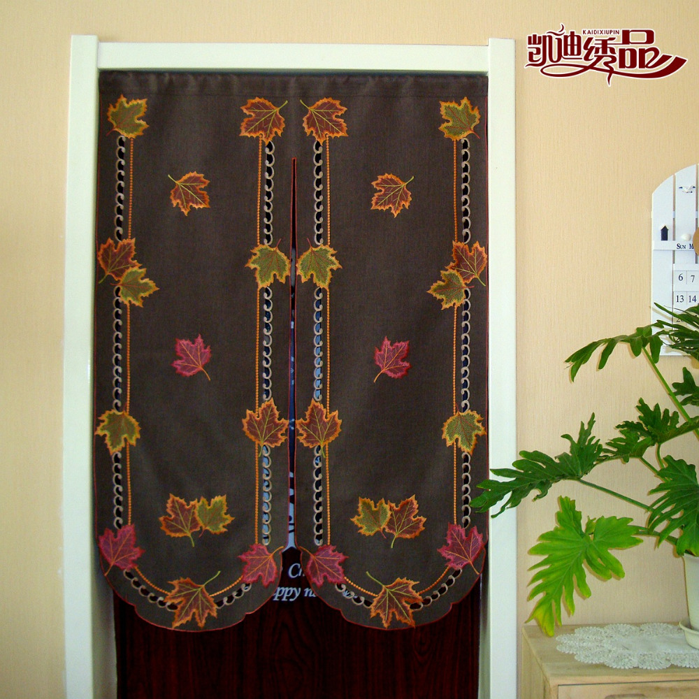 Door half window curtains - Embroidered Maple Leaves Half Curtain Window Light Shading Curtain For Kitchen Cabinet Door Cloth Curtain Partition