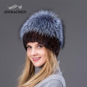Image 5 - JINBAOSEN Nữ Mùa Đông Chồn Mũ Lông Thú Bạc Thật Cáo Lông Ấm Trượt Tuyết Nón Lông Tự Nhiên Đan Vải Lông Thương Hiệu thời Trang Kiểu Nga