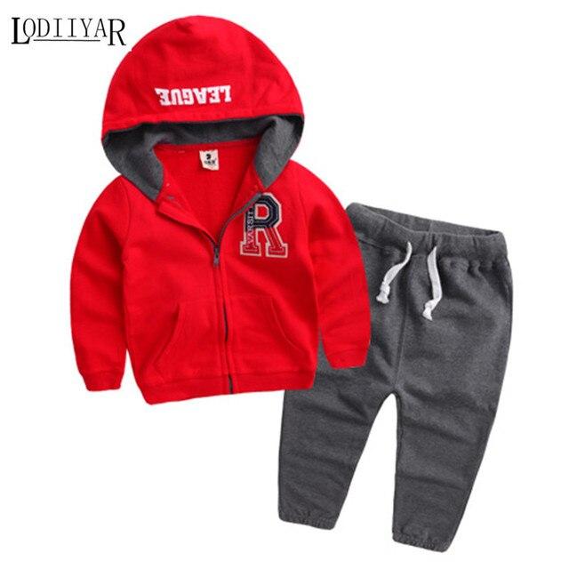Cotton Cuasual Korean Long Sleeve Sport Suit, 2017 Autumn Sport Clothing Set For Child, 1pcs Coat + 1pcs Pant Letter Kid Clothes