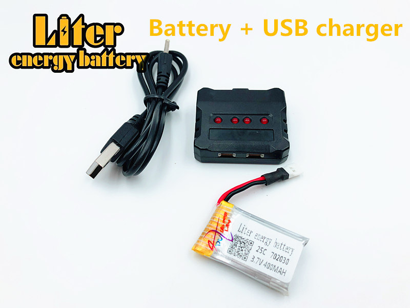 <font><b>3.7V</b></font> <font><b>400mAh</b></font> <font><b>Battery</b></font> For 702030 Helicopter Mini Aircraft Spare Parts Air Vehicle Backup <font><b>Battery</b></font> Helicopter Accessories + charger image
