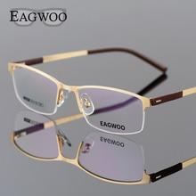 EAGWOO Business Brillen Frame Half Velg Optische Bril Mannen Eyewear Gold Frame Bril voor Bijziendheid Lezen Lente Tempel 2299