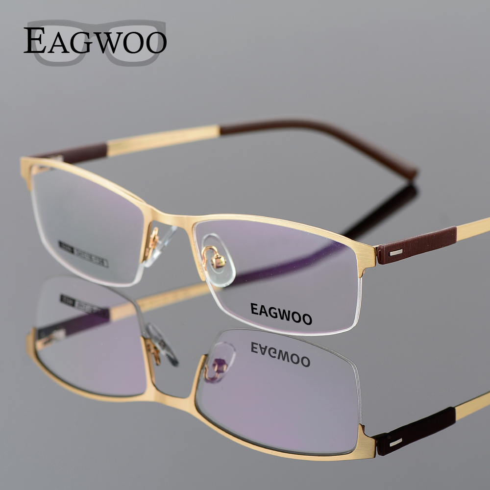 EAGWOO Business Briller Frame Halv Rim Optisk Briller Mænd Briller Guld Frame Briller til Myopi Reading Spring Temple 2299
