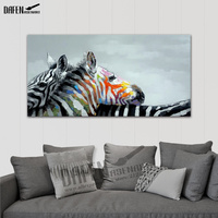 Happy Zebra 100% Handpainted Animal Oil Paintings Funny Cartoon Picture Paint on Canvas Modern Wall Art Bedroom Home Decoration