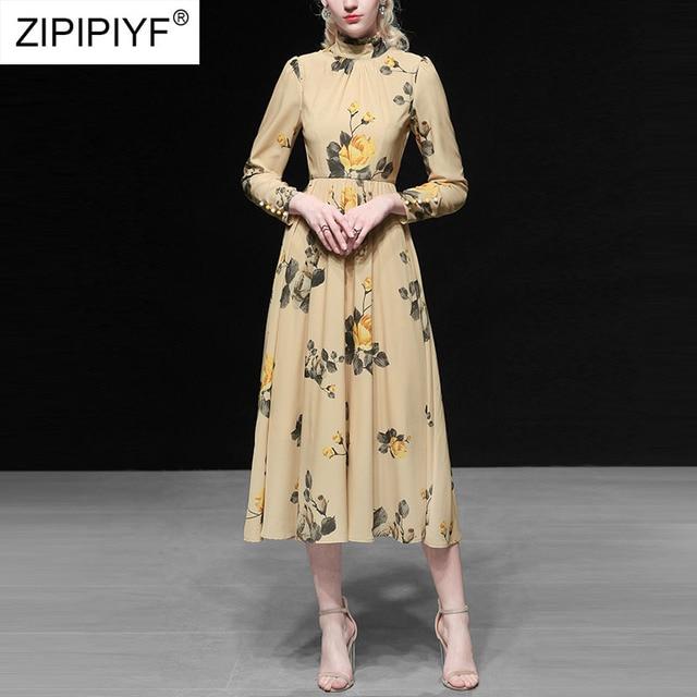 2019 Fashion Vintage Dress Women Stand Neck Long Sleeve Printing Dress A-Line High Waist Bodycon Elegant Female Dresses K602