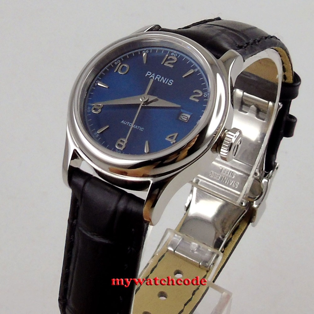 лучшая цена Luxurious 26mm parnis blue dial 21 jewels miyota automatic womens lady watch