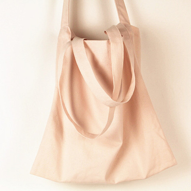 Pink shoulder bag canvas carry bag tote college girl student book bag cotton favor bag large capacity free shipping
