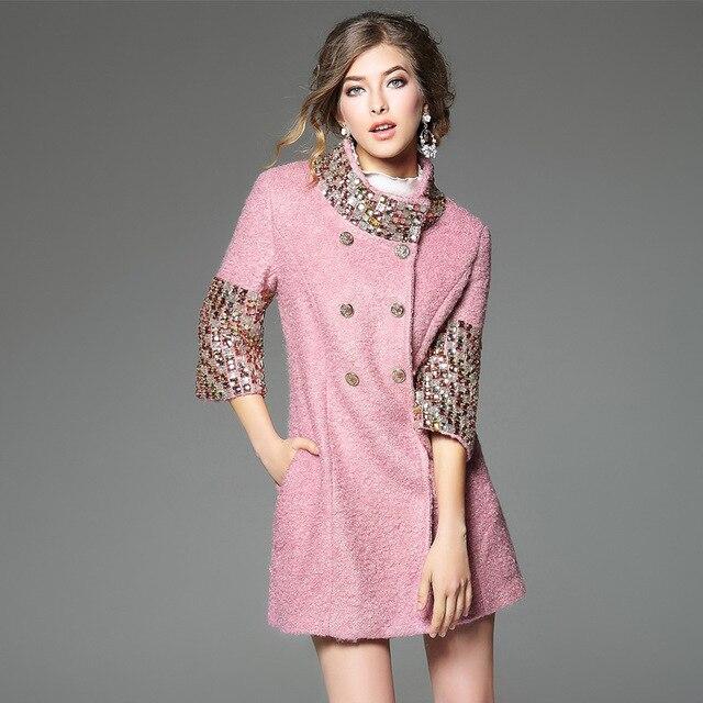 Весной и Осенью бутик модной одежды элегантный женский пальто кристалл удобная шерстяные пальто