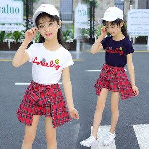 Image 2 - Ensemble fille vêtements enfants été enfants vêtements ensembles Smiley visage T Shirt + rouge grille pantalon coton filles vêtements 10 12 ans tenues