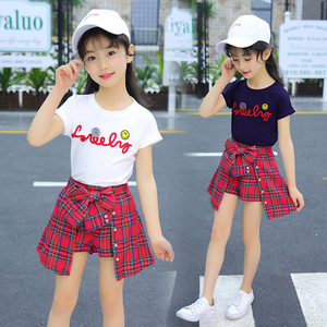 Image 2 - Girl Set Clothing Children Summer Kids Clothing Sets Smiley Face T Shirt+red Grid Pants Cotton Girls Clothes 10 12 Years Outfits