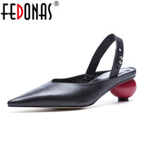 FEDONAS 2018 Genuine Leather Shoes Woman Pumps Ankle Strap Slingbacks High Heel Shoes Pointed Toe Ladies Wedding Dress Pumps