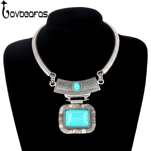 LOVBEAFAS Fashion Collar Maxi Statement Blue Stone Necklaces & Pendants Women Collier Vintage Choker Necklace Turkish Jewelry