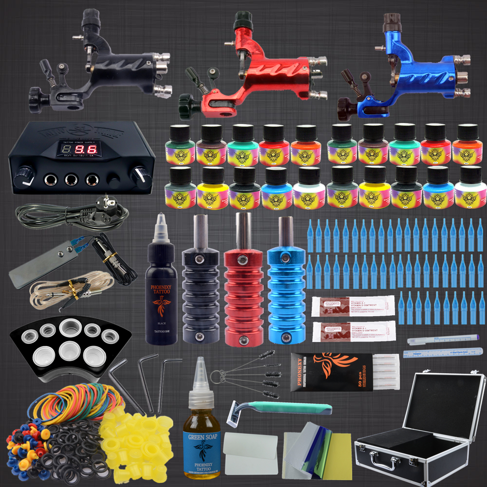 Phoenixy Complete Tattoo Kit 3 Rotary Tattoo Machine Guns Set 20 Colors Inks Needle Tattoo Nozzle Grips Professional Tattoo Kit europe god of darkness robert recommend gp self lock grips gp3 professional tattoo artist grip