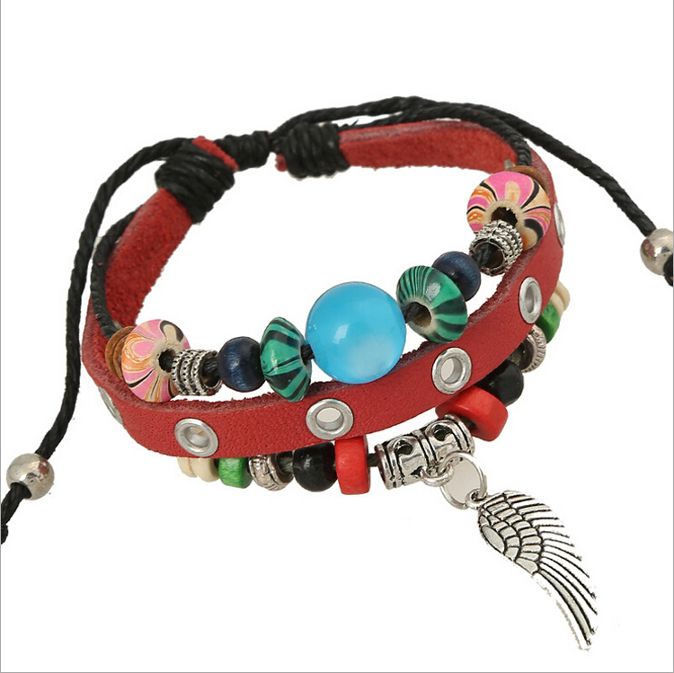 Bracelets & Bangles Fast Deliver Jinglang Brand New Fashion Leather Bracelets Multilayer Beaded Alloy Feather Charm Bracelets & Bangles For Men Jewelry Jewelry & Accessories