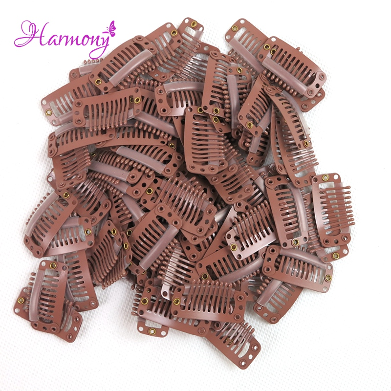 150 pieces/lot 32mm 9 Teeths Hairpins Snap Clips For False Hair Extensions Weft Clips Fo ...