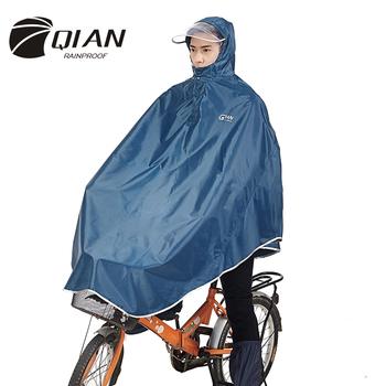 QIAN mężczyźni kobiety nieprzemakalny płaszcz przeciwdeszczowy Electromobile rower z kapturem Poncho przeciwdeszczowe gruby widoczny przezroczysty kaptur sprzęt przeciwdeszczowy płaszcz przeciwdeszczowy tanie i dobre opinie QA6701 Rowerów odzież przeciwdeszczowa Single-osoby przeciwdeszczowa Płaszcze Poliester Dorosłych Turystyka Uniwersalny