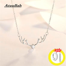 Ataullah Temperament 925 Sterling Silver Elk Necklaces Deer Antlers Choker Pendants Chain For Women Jewelry Gift NW038NS(China)