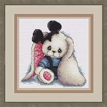 Needlework  14CT 16CT Cross Stitch, DIY Count Embroidery Set, Mickey Rabbit