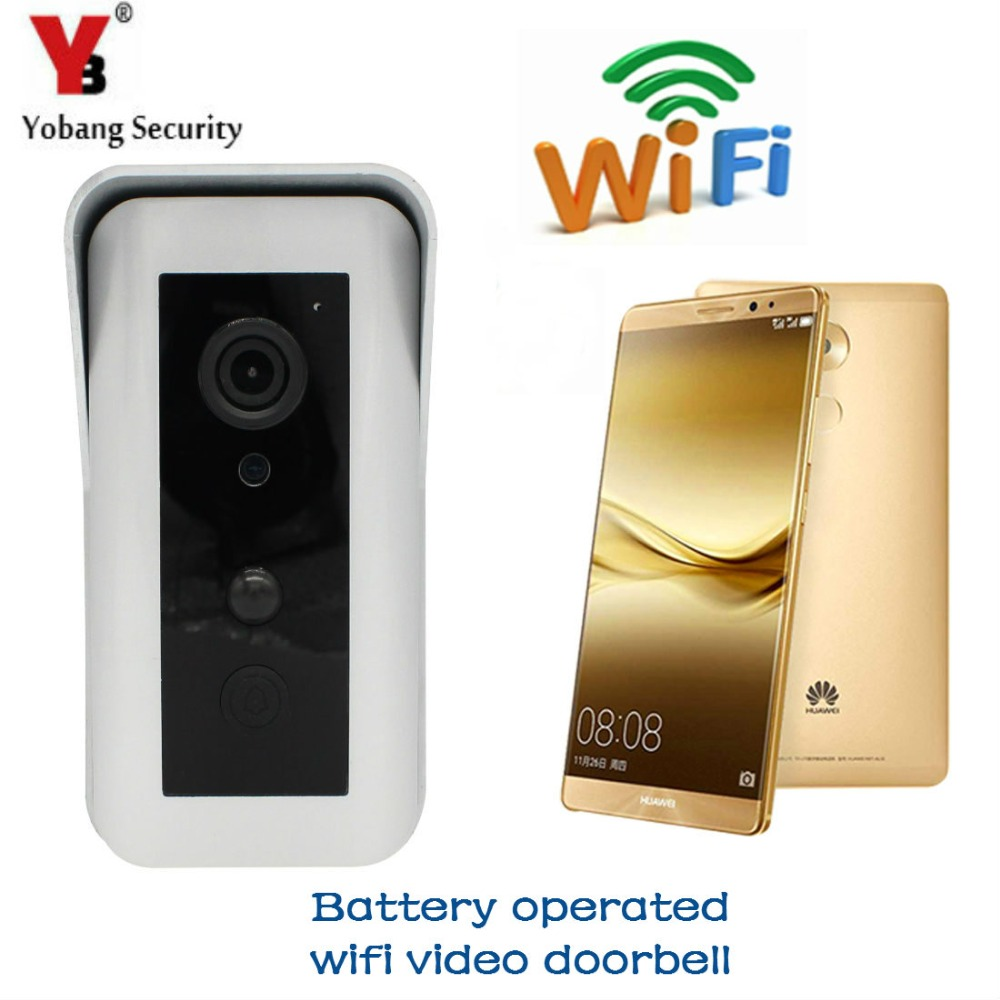 YobangSecurity Battery Operated Wifi Video Door Phone Doorbell Battery Powered Wireless Video Door Entry Intercom Android IOS yobangsecurity wireless video door phone doorbell intercom video entry intercom system with triple receivers 3 wireless receiver