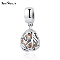 Sam Panda New Authentic 100% 925 Sterling Silver Beads Orange Murano Branches Pendants Charms Fit Bracelets & Bangle DIY Jewelry