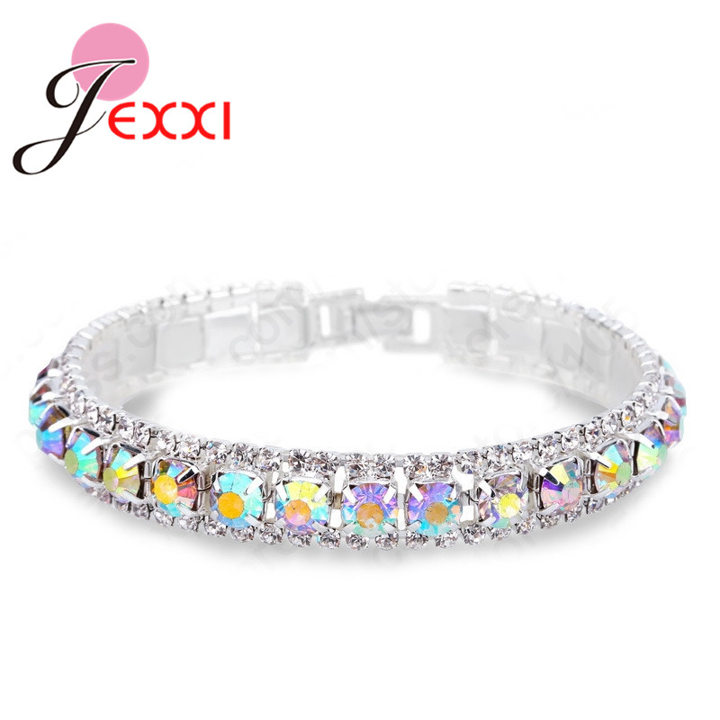 Wholesale 925Sterling Solid Silver Jewelry Colorful Crystal Box Bracelet H220