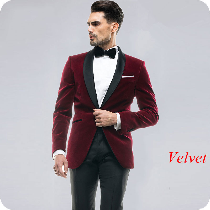 Italian Smoking Jacket Burgundy Velvet Wedding Suits Men Black Shawl Lapel 2Piece Slim Fit Groom Tuxedo Man Blazer Costume Homme